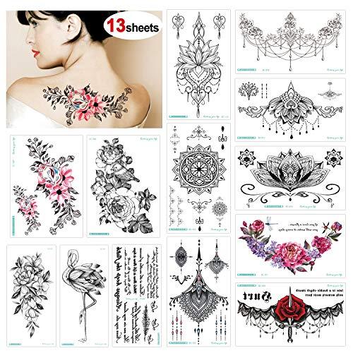 Konsait 13 feuilles tatouages ephemeres femmes, Tatouages Temporaires Étanche Tattoo fleur Mehndi ephemere bras poignet body pour Femme, Noir