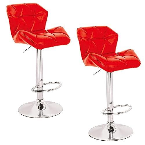 MCTECH® Juego de 2 Taburete taburete de bar lounge giratoria y Altura Ajustable sintética de piel Cromado Acero Bar Silla, Tipo B Rojo