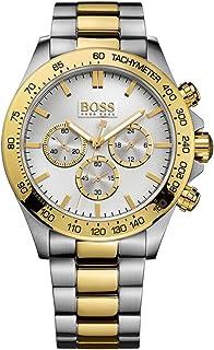 ساعة ستانلس ستيل لونين دائرية انالوج بعقارب ومينا فضي بمؤشرات مختلفة اللون للرجال من هوجو بوس - فضي وذهبي