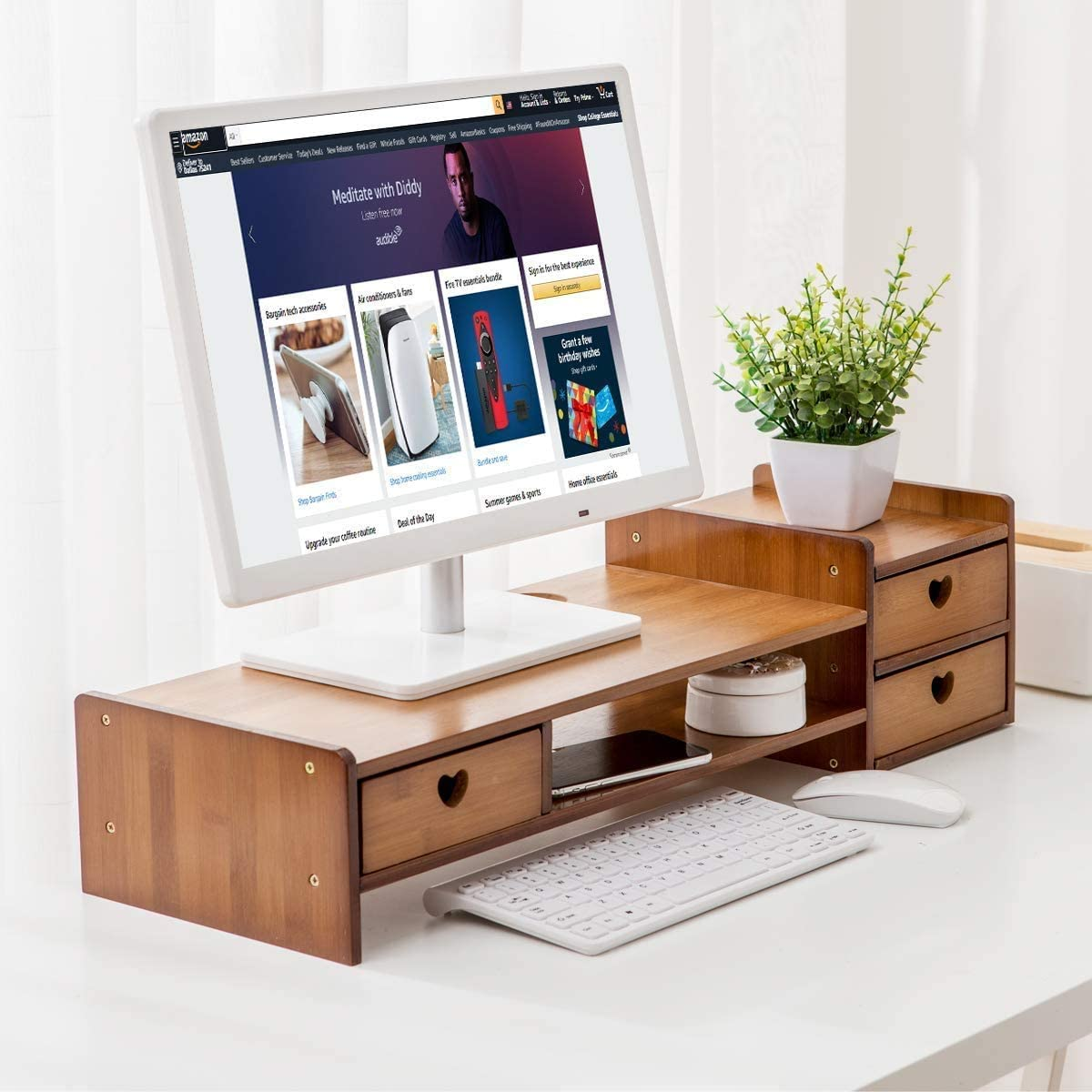 Maydear Bamboo Monitor Stand Riser with Storage Drawer, 2 Tier Desk Organizer Stand for Laptop Computer, Desktop Printer Stand, Versatile as Storage Shelf & Screen Holder