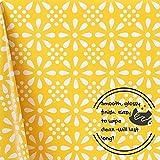 Gelb Wachstuchtischdecke Weiß Retro Blumendruck, Abwischbare PVC Wachstuch, Rechteckige 200 x 140 cm - Klassisch Ranken Blumen Wachstischdecke Pflegeleicht Vinyl-Kunststoff Tischdecke Wasserdichtes - 5