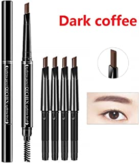 Double-headed Eyebrow Pencil,Lasting Eyebrow Color,Eyebrow Brush,5 Pcs Set Can be Replaced (Black,Gray,Dark coffee,Light coffee,coffee,5 colors choose) (dark coffee)