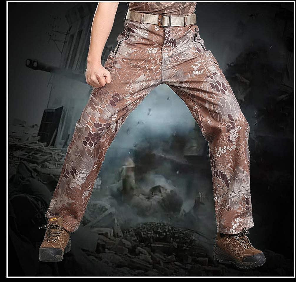 YuanDian Hombre Tactico Camuflaje Softshell Pantalon Forro Polar Militar Multi-Bolsillo Trekking Pantalon Impermeables C/álido Espesar Alpinismo Camping Senderismo Camo Pantalones
