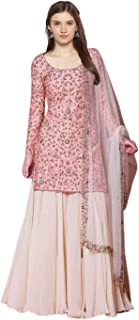 FEXEL Women's embroidered Semi stitich Net & Georgette Sharara Salwar Suit With Dupatta