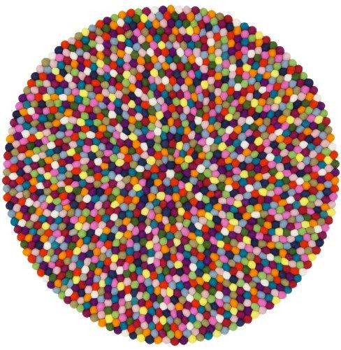 myfelt Fieltro Bola Alfombra Lotte–, Fieltro, carbón, 70 x 70 x 2 cm