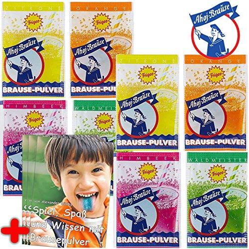 8 x * AHOJ - KINDER BRAUSE * ┃ Mitgebsel Kindergeburtstag ┃ Süßigkeiten mit 4 Geschmäcker ┃ Hersteller aus Deutschland ┃ Kinder lieben diese Ahoj-Brause