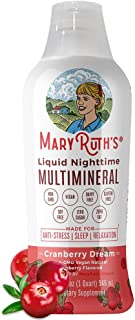 Liquid Sleep Multimineral by MaryRuth's - Cranberry - Vegan Vitamins, Antioxidants, Minerals, Magnesium, Calcium & MSM - Natural Sleep & Stress Aid - Muscle Relaxation - No Melatonin - Non-GMO - 32oz