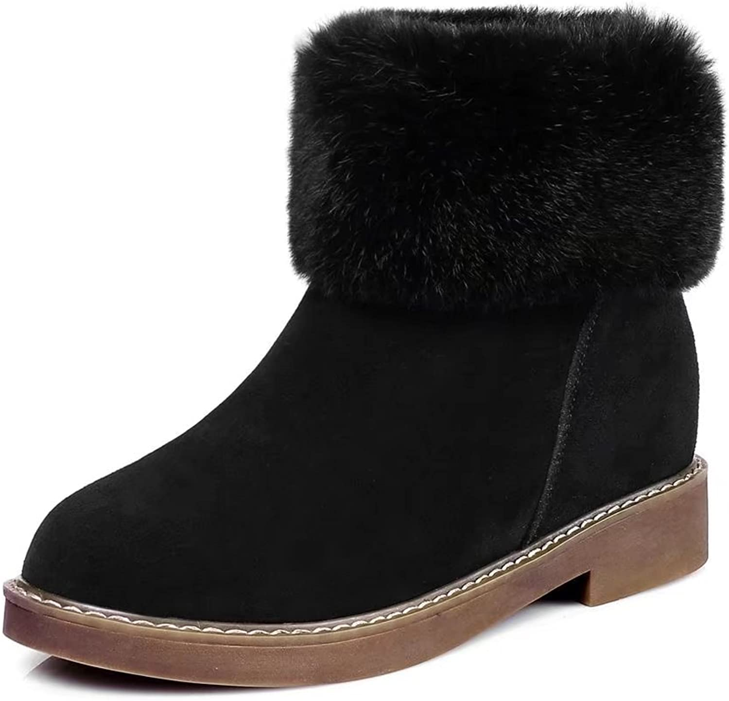 VIMISAOI Women's Suede Leather Plush Upper Chunky Heel Zipper Winter Snow shoes Ankle Boots