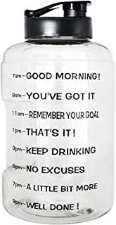 BuildLife 1 Gallon(128OZ/83OZ) Sports Water Bottle Inspirational Fitness Workout Wide Mouth with Time Marker for Measuring Your H2O Intake BPA Free