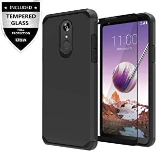 LG Stylo 4 Case, LG Stylo 4 Plus Case with Tempered Glass Screen Protector,IDEA LINE Heavy Duty Protection Hybrid Hard Shockproof Slim Fit Cover - Black