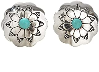 Navajo Turquoise Blossom Silver Concho Earrings Post Style 1585