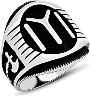 Solid 925 Sterling Silver Turkish IYI Kayi Tribe Ax Men's Ring