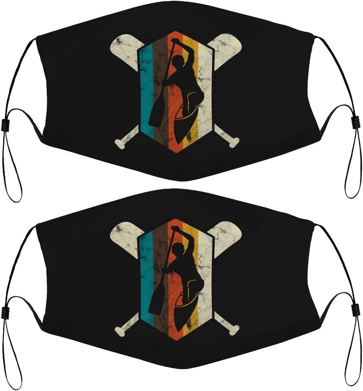 Cool Retro Kayak Vintage Kids Face Masks Set of 2 with 4 Filters Washable Reusable Breathable Black Cloth Bandanas Scarf for Unisex Boys Girls