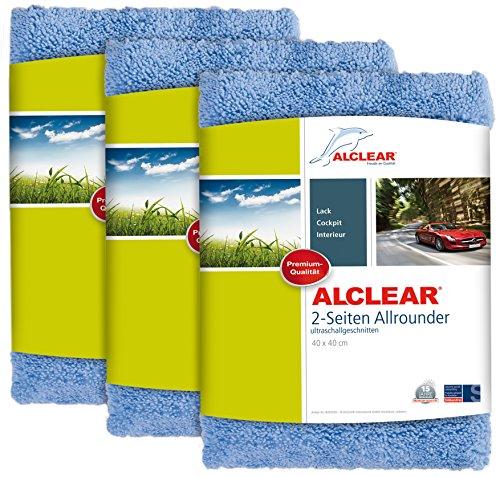 ALCLEAR 3er Set Auto Microfasertücher Poliertücher 2-Seiten-Allrounder Premium ohne Hologramme, f. Autopolitur, Motorrad, Aufbereitung und Poliermaschine, 40x40 cm blau, Mikrofasertücher