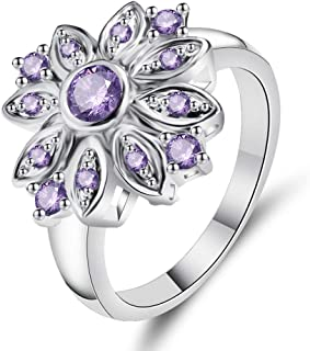 HYLJZ Anello Flower Gift Classic Wedding Ring for Woman Purple Cubic Zircon Silver Ring Size 6 7 8 9 Charm Party Jewelry f...