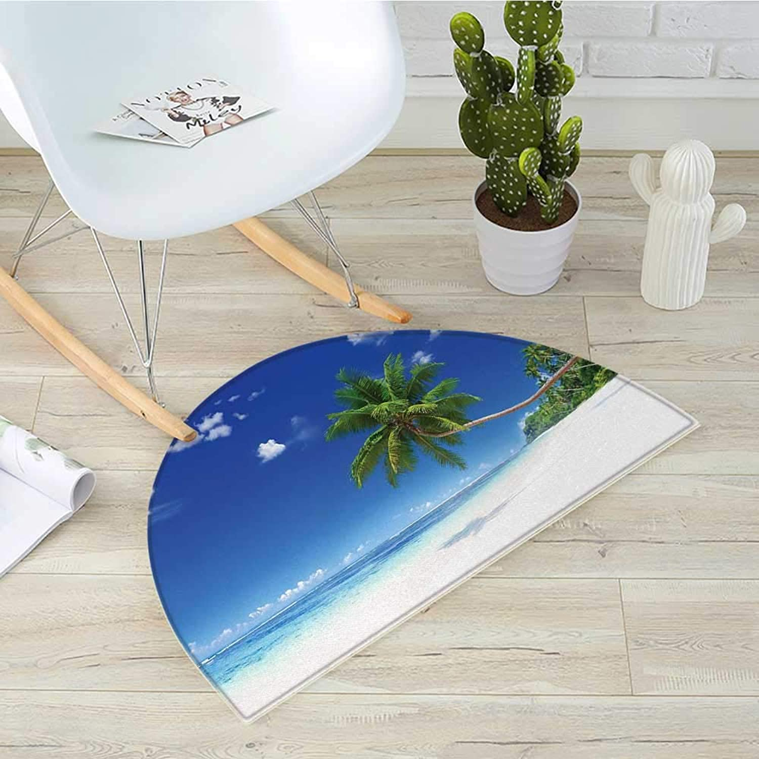Ocean Semicircular CushionCoastline Seascape Lagoon with Palm Leaf and Clouds Freedom Holiday Idyllic Entry Door Mat H 39.3  xD 59  White bluee Green