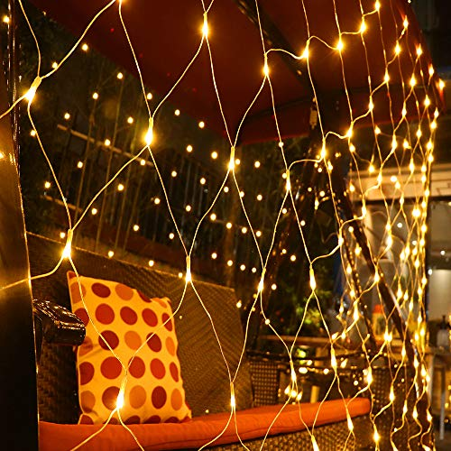 Fog Rain LED Net Lights 6.6ft x 9.8ft Warm White,Party Background Light,8 Modes Dimmable String Lights for Christmas Halloween(Warm White)