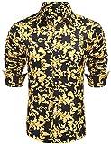 Daupanzees Mens Dress Shirt Fashion Noble Long Sleeve Classic Modern Fit Button-up Print Luxury Casual Button Down Shirts (Gold XL)