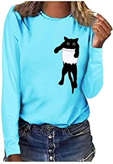 Womens Sweatshirt Cat Print Tee Shirt Long Sleeve T-Shirt Blouse Top, LIM&Shop Loose Girl Casual Round Neck Pullover