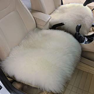 Altopcar Wool Car Seat Cushions Soft Square Sheepskin Seat Cover Pad Fluffy Chair Cover Area Rug Universal for Auto Office 18 inch x 18 inch tan Home