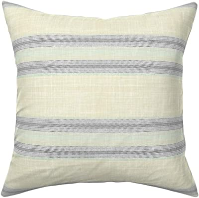 Amazon Com Roostery Throw Pillow Ticking Stripe Spa Blue Herringbone Print Linen Cotton Canvas Knife Edge Accent Pillow 18in X 18in With Insert Home Kitchen