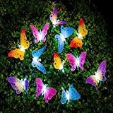 Cadena de luz solar LED, luces de hadas de mariposa multicolor, luz impermeable al aire...