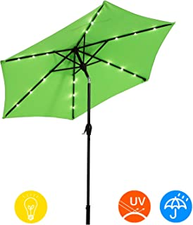 AI-LIN 9Ft Led Lighted Patio Table Umbrella Outdoor Umbrella with Push Button Tilt and Crank, 6 Steel Ribs, for Garden, Deck, Backyard, Swimming Pool (Light Green)