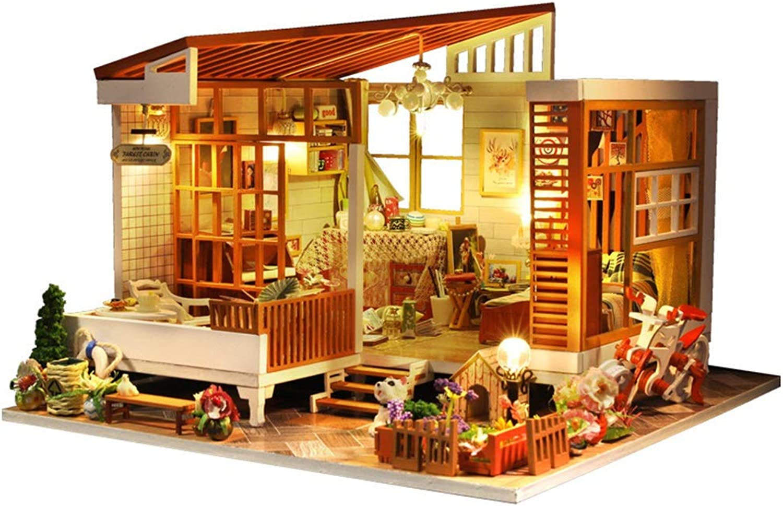 100% a estrenar con calidad original. Kanqingqing Casa Casa Casa de muñecas en Miniatura DIY, Tema Simple, Casas de muñecas en Miniatura y Casas de Muebles de Madera con Luces LED para Regalos de cumpleaños creativos de Bodas  cómodamente