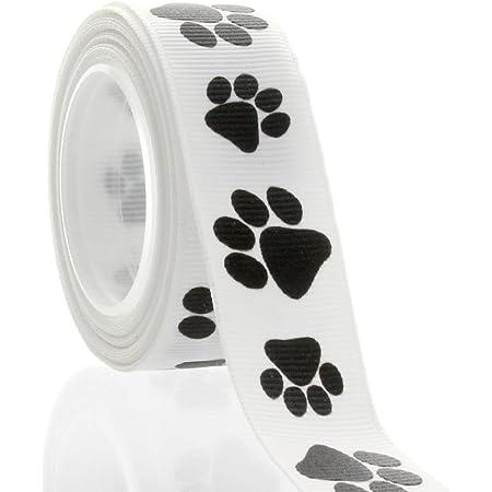 "7//8/"" Grosgrain Ribbon Black /& Silver Doggie Paw Prints on Gray Dog Rescue"
