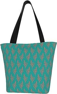 Lesif Einkaufstaschen, einfach korallenfarben im Dschungelgrün, blaugrün, orange, Segeltuch, Einkaufstasche, wiederverwendbar, faltbar, Reisetasche, groß und langlebig, robuste Einkaufstaschen