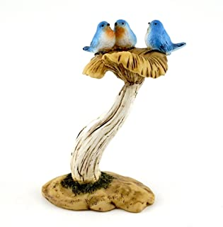 Top Collection 4402 Miniature Fairy Garden & Terrarium 3 Bluebirds on Mushroom Bird Bath Statue, Small
