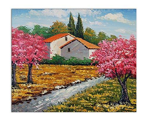 Casa de campo Cuadro pintura al oleo realizada a mano sobre lienzo montada sobre bastidor estetico