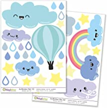 Kiwistar Wolken heteluchtballon, totale grootte, muurstickerset, boogstickers, gekleurd, DIN A4; totale oppervlakte: Bogen...