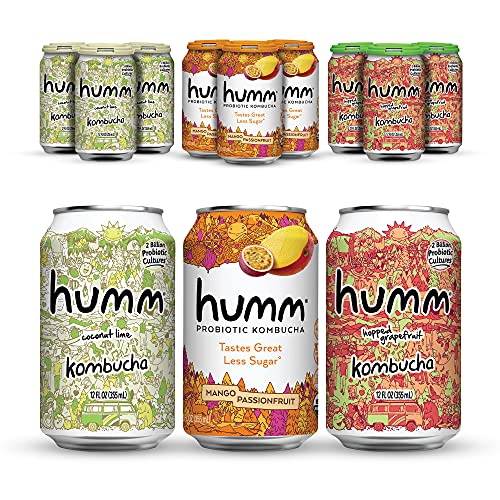 Humm Probiotic Kombucha Island Paradise Pack - 2 Billion Probiotics for Gut Health - Mango Passionfruit, Hopped Grapefruit and Coconut Lime (24 Pack)