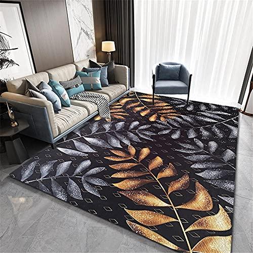 Alfombras alfombras habitacion Juvenil Alfombra Amarilla Negra de Hojas de Gris Antideslizante, fácil de Limpiar Decoracion de habitacion Cosas para el baño 60*120cm