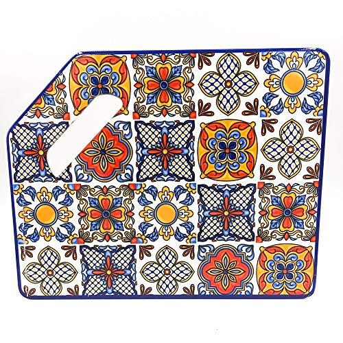TORO DEL ORO | Tabla de cortar cocina - Tabla de cortar PVC reforzado - Preparar, trocear y picar - Diseños originales de azulejos andaluces (Nervión)