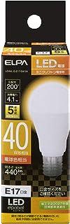 エルパ LED電球 ミニクリプトン球形 口金E17 40W形 電球色 5年保証 LDA4L-G-E17-G4104