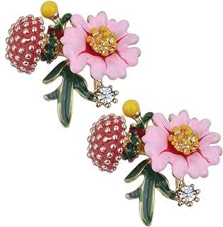 Szxc Women's Daisy Flower Leaves Mushroom Hypoallergenic Stud Earrings - Enamel & Crystals - 4/5 Inch - Ultra Light - Pink...