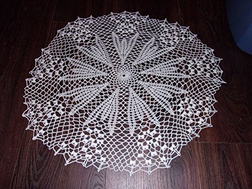 White Crocus Lace Doily, White Lace Tabletop, Home Decor, Table Cover, 23 inches