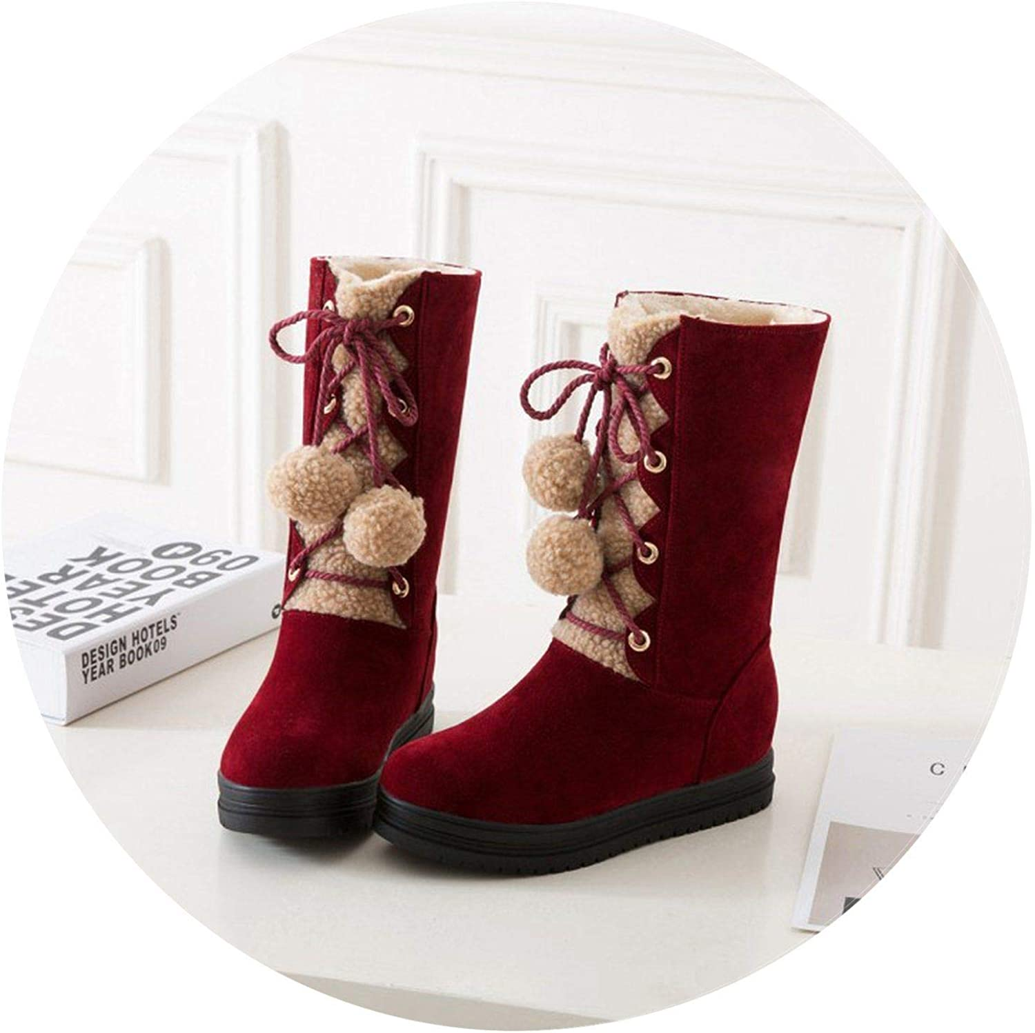 Summer-lavender Snow Boots Warmer Plush Platform Winter Flat shoes Fur Ball Fluffy Mid-Calf Booties Lace-up shoes