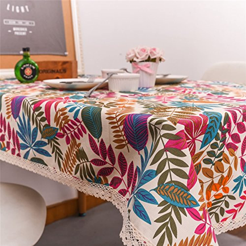 VLIMG Tischdecken, Tropische Regenwaldpflanzen Tischdecken Farbe Bltter Tischdecken, Spitzen weie Bltter, 140  220CM