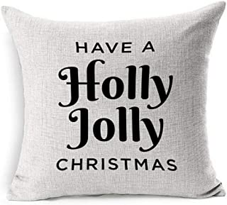 Ahawoso Linen Throw Pillow Cover Square 18x18 Mail Colorful Children Material Have Holly Jolly Christmas Ribbon Text Holidays Green Tree Creative Deck Halls Pillowcase Home Decor Cushion Pillow Case