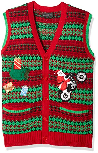 Blizzard Bay Men's Ugly Christmas Sweater Vest, Red/Green, Large