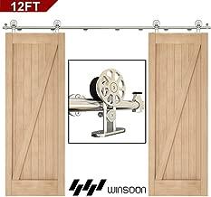 WINSOON Top Mount Barn Door Hardware 12FT Stainless Steel Double Door Track kit Spoke Wheel Shaped Brushed Nickel Color