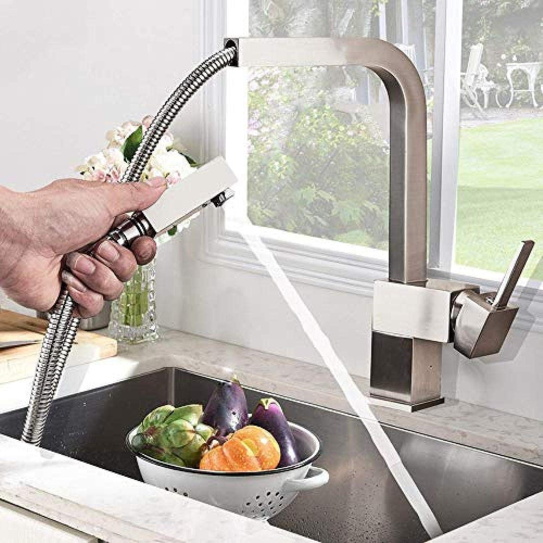 Küchenmischer Square Abnehmbare Küchenarmatur aus gebürstetem Nickel Küchenmischer Deck montiert im Badezimmer Küche kalt und kalt Wasserhahn schwarz Armaturen
