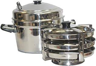 Tabakh DC-203 3-Plate Stainless Steel Dhokla Stand with Cooker, Small, Silver