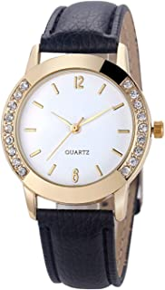 Women's Diamond Crystal Rhinestone Leather Quartz Wrist Watch