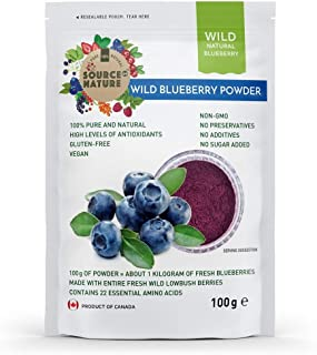 Wild Blueberry Powder 3.5 oz (100g) 100% Whole Berry; Not Extract, Not Concentrate, Not Juice Powder