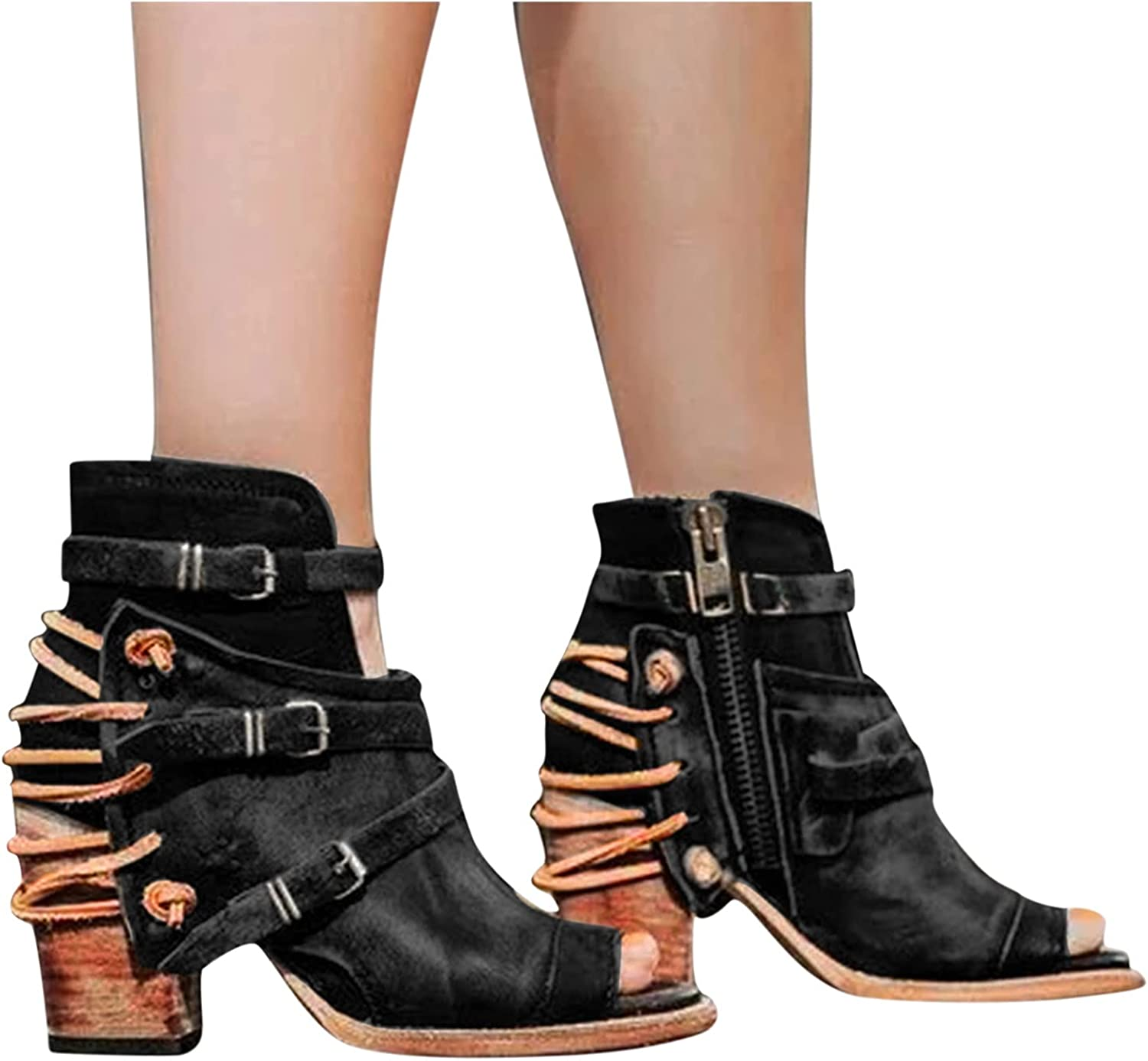 Xudanell Mujer Booties Peep Toe Block Omaha Mall Our shop OFFers the best service Buckled Strap Chunky Heel