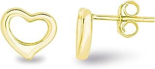 Spoil Cupid 14k Gold Plated Sterling Silver Hollow Open Love Heart Stud Earrings